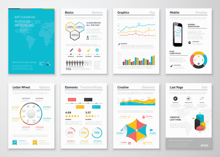 ビジネス パンフレットのモダンなインフォ グラフィック ベクトル要素  イラスト・ベクター素材
