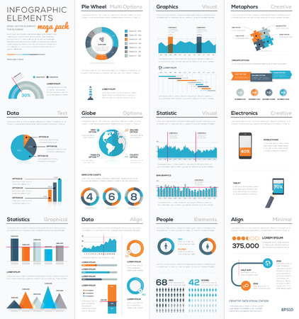 Mega colletion of infographic business vector elements Ilustração