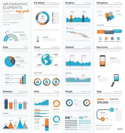 Mega colletion of infographic business vector elements Illustration