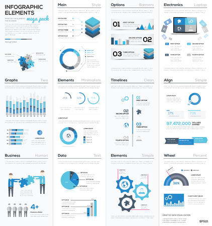 info chart: Big colletion of blue infographic business vector elements EPS10