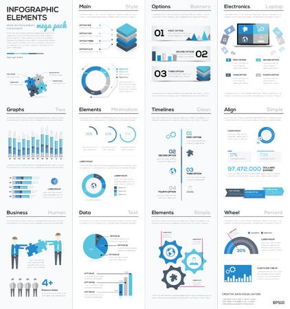 Grote colletion van blauw infographic zakelijke vectorelementen EPS10