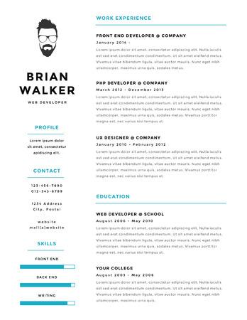 Creative and minimalistic personal vector resume  cv template Illustration