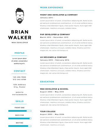 Creative and minimalistic personal vector resume  cv template Illustration