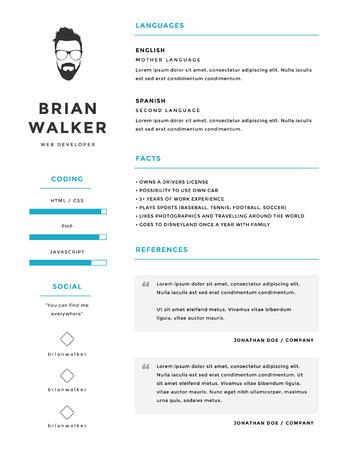 クリーンでミニマルな個人的なベクトルの履歴書履歴書テンプレート