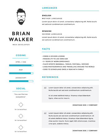 Clean and minimalistic personal vector resume  cv template