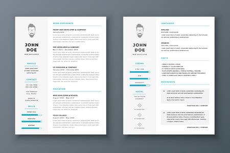 Resume and cv vector template. Awesome for job applications. Stock Illustratie