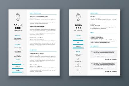 plantilla: Resume y plantilla cv vector. Impresionante para solicitudes de empleo.