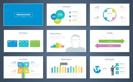 Infographic presentatie elementen en vectormalplaatje brochures