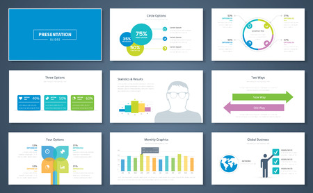 business  concepts: Infographic presentation elements and vector template brochures Illustration