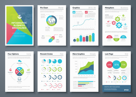 demografia: Folletos Infografía y elementos gráficos de negocios Vectores