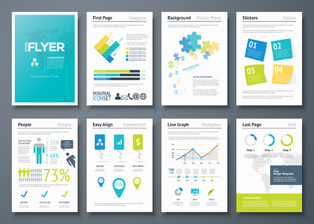 magazine layout design template: Infographic flyer templates and business vector elements