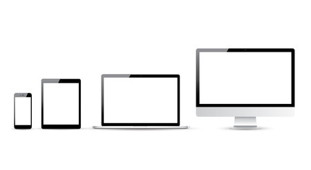 Computer, laptop, tablet and smartphone vector illustrations Çizim