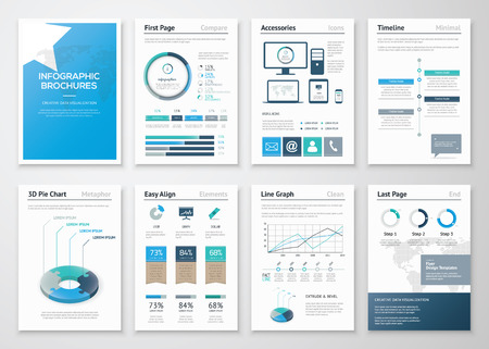 Acht pagina's van de infographic brochures en flyers voor het bedrijfsleven Stock Illustratie