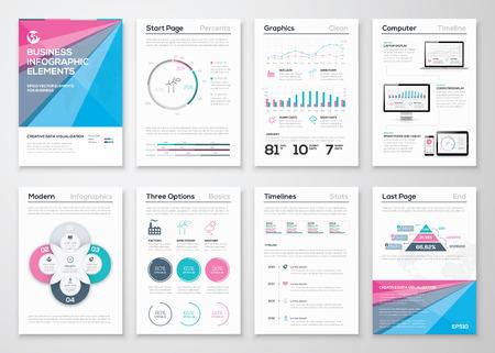 Infographic zakelijke brochure templates voor data visualisatie Stock Illustratie