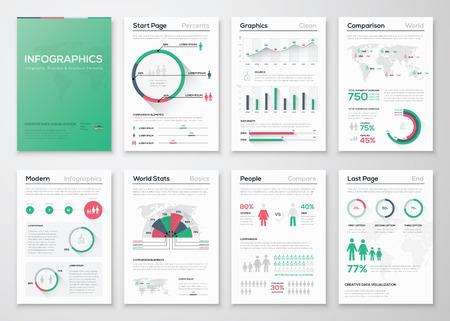 Grote reeks infographic vectorelementen in vlakke bedrijfsstijl Stock Illustratie