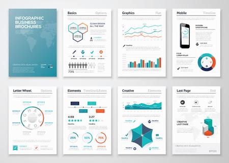 ビジネス データの可視化のためのインフォ グラフィック会社案内  イラスト・ベクター素材