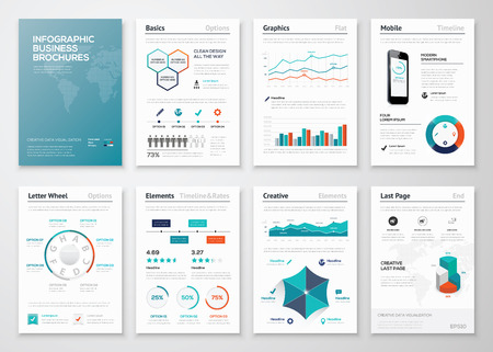 Infographic corporate brochures for business data visualization