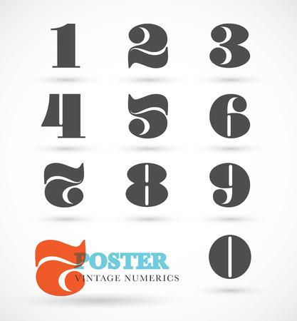 number one: Conjunto de números de fuente numéricos clásicos y retro para el arte abstracto Vectores