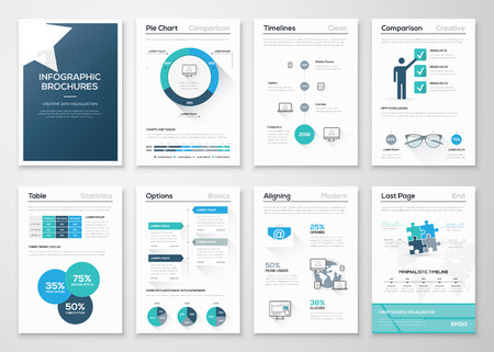 magazine page: Creative infographic vector concept. Business graphics brochures