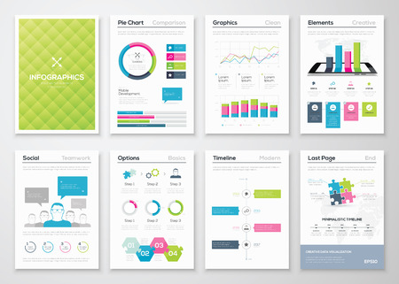 report icon: Flyer infographics and brochure templates vector illustrations