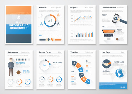 Flat style infographic vector elements in business brochures