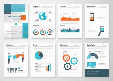 新鮮なフラットのビジネス スタイルのインフォ グラフィック要素の大きなセット  イラスト・ベクター素材