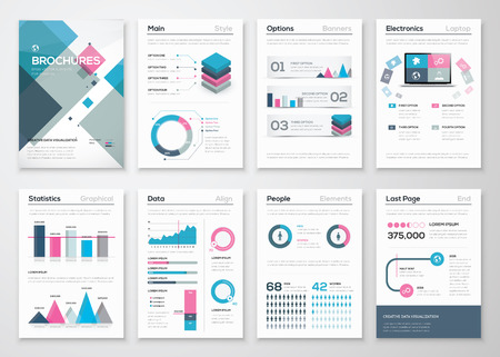 corporate people: Big set of business brochures and infographic vector elements