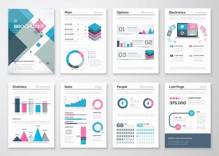 Grande set di brochure aziendali e elementi vettoriali infographic Vettoriali