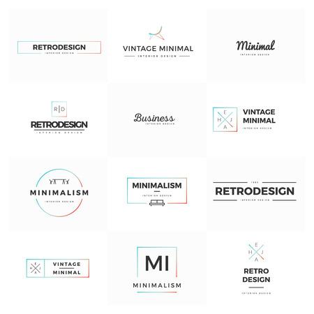 Set of modern and minimal vintage vector logos Illustration