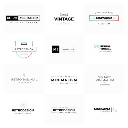 arte moderno: Conjunto de vector moderna y minimalista de la vendimia