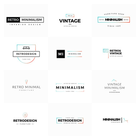 luxury template: Set of modern and minimal vintage vector Illustration