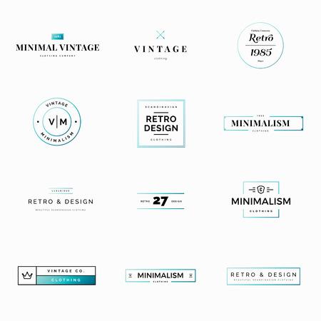 Twelve minimal vintage and retro vector logos for shops