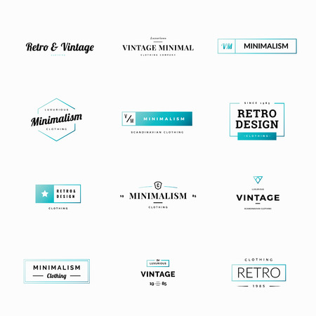 Twelve minimal retro and vintage vector logos for shops Illustration