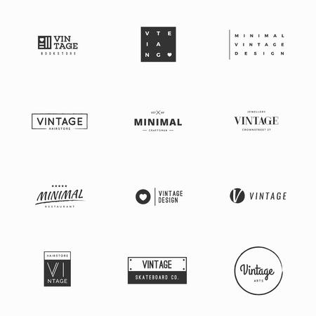 logotipos de restaurantes: Plantillas de logotipo vector vendimia mínimos para el diseño de la marca Vectores