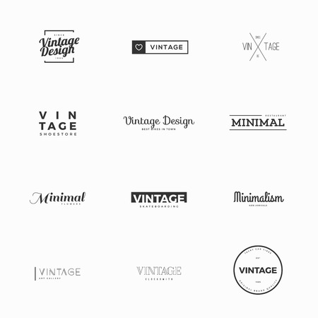 Vintage vector logo templates for brand design Çizim