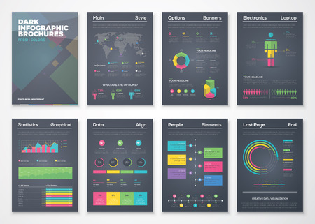 business  concepts: Black background infographic brochures with flat colorful style