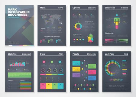 Zwarte achtergrond infographic brochures met flatscreen kleurrijke stijl
