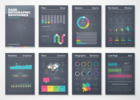 Colorful flat infographic brochures with black background Ilustração