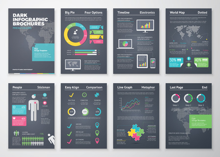 Colorful flat infographic brochures with dark background Ilustracja