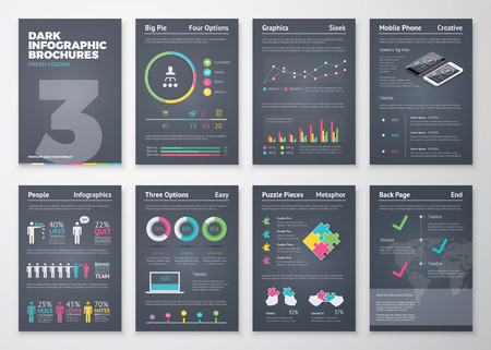blank magazine: Colorful flat infographic templates on dark background