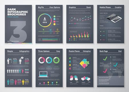 Colorful modelli infographic piatte su sfondo scuro Archivio Fotografico - 40047931