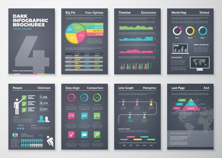 Zwarte infographic sjablonen in brochure stijl