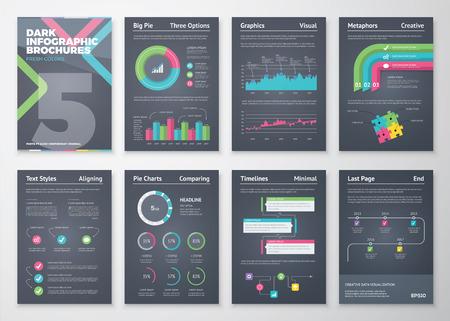 grafik: Bunte und Flachinfobroschüren mit schwarzem Hintergrund