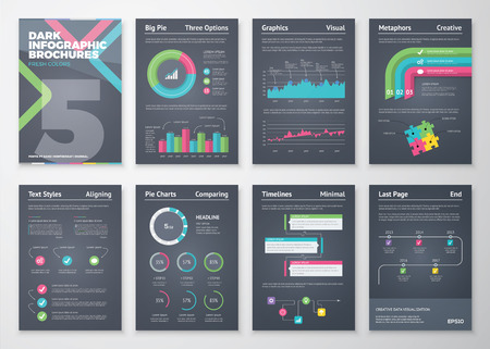 Colorful and flat infographic brochures with black background