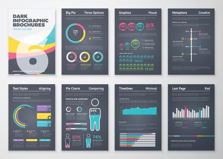 the brochure: Elementos folleto negocio infogr�ficas negras en formato vectorial