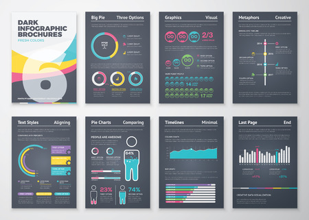 Black infographic business brochure elements in vector format Vettoriali
