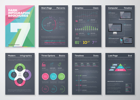 magazine layout: Black infographic templates in business brochure style