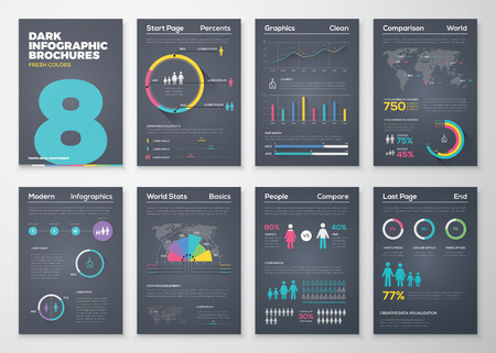 magazine layout design template: Infographic brohucres with fresh colors on a black background