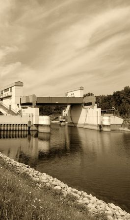 bw: A series of black and white sepia-toned harbour impressions Stock Photo