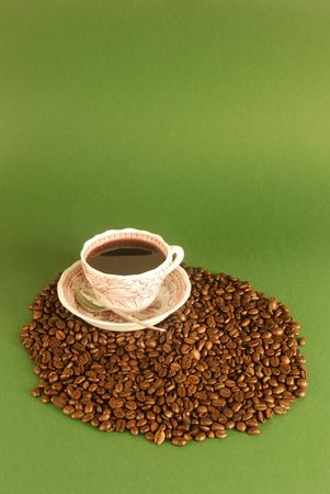 jamoke: A studio shot series related to coffee - roasted beans with various cups and different backgrounds